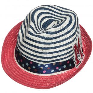 Καπέλο ψάθινο ριγέ με patch (4-8 ετών)