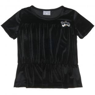Short sleeved velvet top (6-14 years)