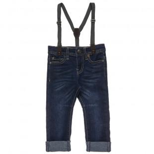 Παντελόνι τζιν ελαστικό με τιράντες (12 μηνών-5 ετών)