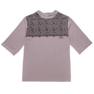 Μπλουζοφόρεμα με σχέδιο δαντέλας και στρας (Κορίτσι 6-12 ετών)