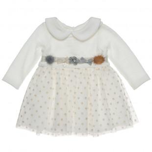 Φόρεμα Πλεκτό με γιακά και πουά τούλι (Κορίτσι 6-18 μηνών)