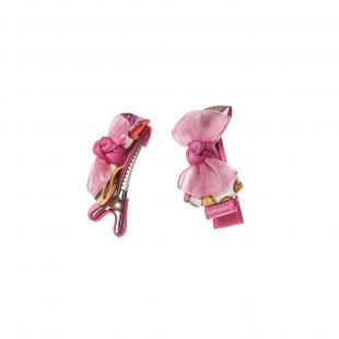 Clip μαλλιών με ροζ φιογκάκι 2 τεμ.