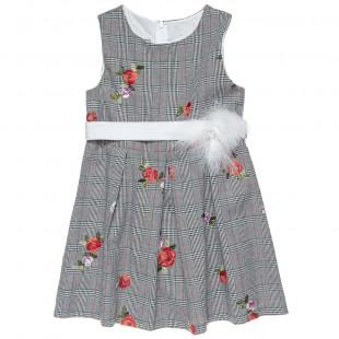 Φόρεμα με κεντητά λουλούδια και ζώνη (6-12 ετών)