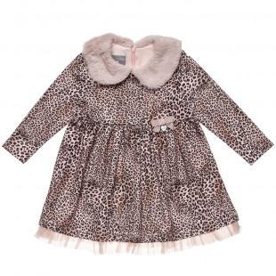 Φόρεμα μακρυμάνικο λεοπάρ με ροζ γιακά (1-4 ετών)