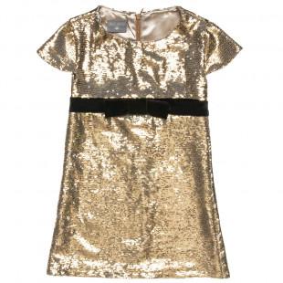 Φόρεμα με διπλή παγιέτα και βελουτέ φιόγκο (6-14 ετών)