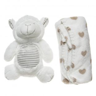 Λούτρινο ζωάκι και βελουτέ κουβέρτα (90x75 cm)
