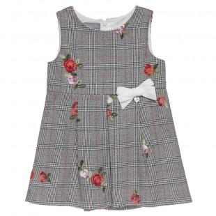 Φόρεμα με κεντητά λουλούδια και βελουτέ φιογκάκι (2-5 ετών)