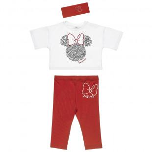 Σετ Disney Minnie Mouse μπλούζα με κολάν και κορδέλα μαλλιών (2-8 ετών)