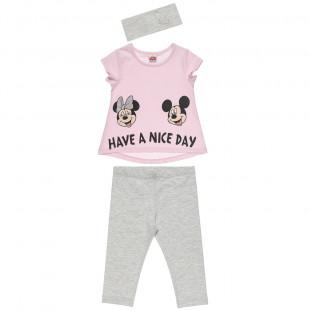 Σετ Disney Minnie Mouse μπλούζα με τύπωμα κολάν και κορδέλα (12 μηνών-5 ετών)