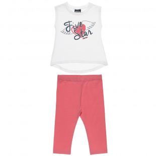 Σετ Five Star μπλούζα αμάνικη με τύπωμα και κολάν (18 μηνών-5 ετών)