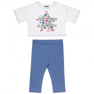 Set Five Star blouse with glitter and leggings (18 monts-5 years)