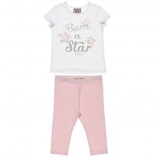 Set Five Star blouse with Foil print and leggings (12 months-5 years)