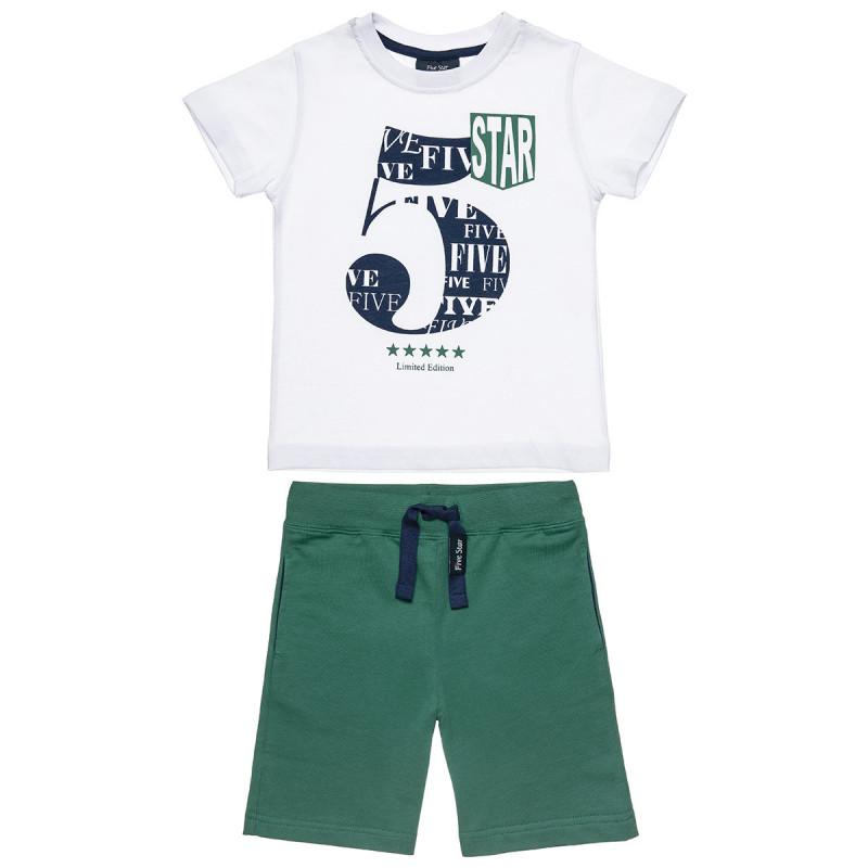 Σετ Five Star μπλούζα με τύπωμα και βερμούδα (9 μηνών-5 ετών)