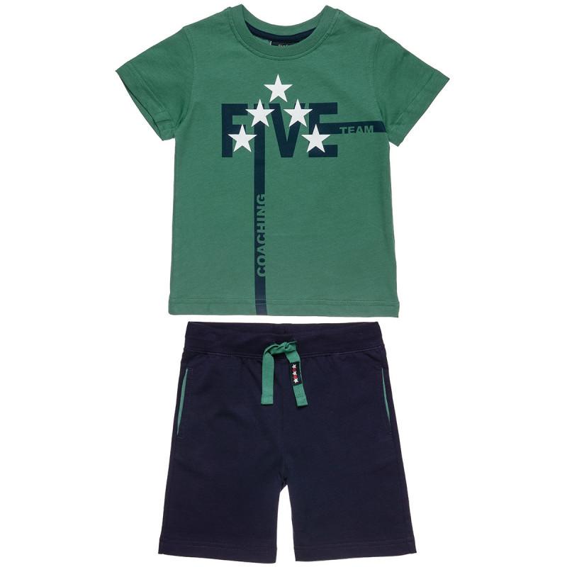 Σετ Five Star μπλούζα με τύπωμα και βερμούδα (12 μηνών-5 ετών)