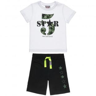Σετ Five Star μπλούζα με τύπωμα 5 και βερμούδα (12 μηνών-5 ετών)