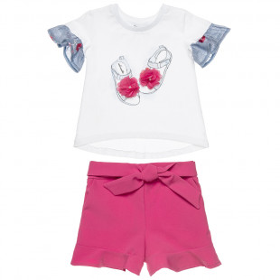 Set blouse with flowers and sorts with boe (18 months-5 years)