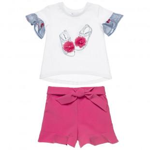 Σετ μπλούζα με κέντημα λουλούδια και σορτς με φιόγκο (18 μηνών-5 ετών)