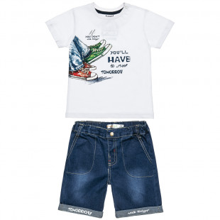 Σετ μπλούζα με τύπωμα και βερμούδα τζιν (2-5 ετών)