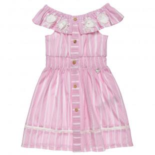 Φόρεμα με διάτρητα κεντήματα και βολάν (2-5 ετών)