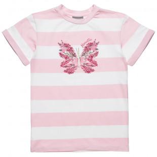 Μπλουζοφόρεμα ριγέ με σχέδιο πεταλούδα (6-12 ετών)