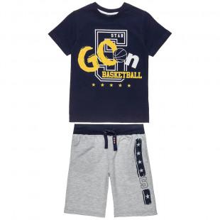 Σετ Five Star μπλούζα με τύπωμα και βερμούδα με τύπωμα (6-14 ετών)