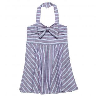 Φόρεμα ριγέ εξώπλατο με φιόγκο (6-16 ετών)