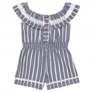 Ολόσωμη φόρμα ριγέ με διάτρητα κεντήματα (6-12 ετών)