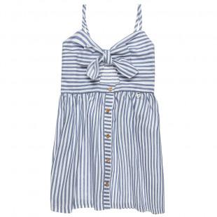 Φόρεμα ριγέ ποπλίνα (6-16 ετών)