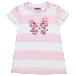 Φόρεμα ριγέ με τύπωμα (12 μηνών-5 ετών)