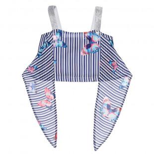 Μπλούζα ριγέ με μοτίβο πεταλούδες και τιράντες (6-12 ετών)