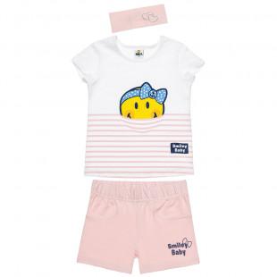 Σετ Smiley μπλούζα με σόρτς και κορδέλα (12 μηνών-3 ετών)