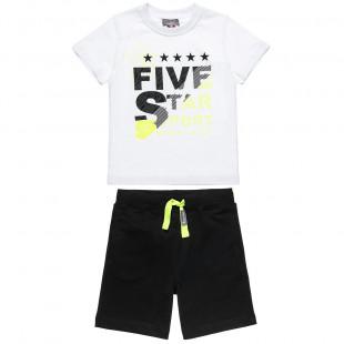 Σετ Five Star μπλούζα με lettering και βερμούδα με κορδόνια  (2-5 ετών)