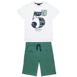 Σετ Five Star μπλούζα με τύπωμα τον αριθμό 5 και βερμούδα (6-16 ετών)