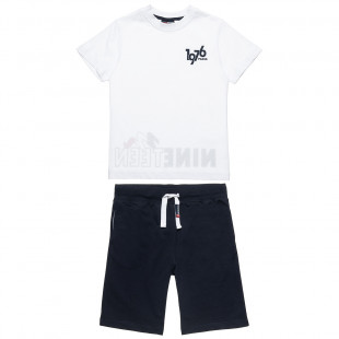 Σετ Moovers μπλούζα με τύπωμα και βερμούδα με λάστιχο (6-16 ετών)