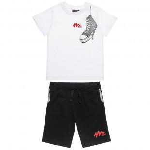 Σετ Moovers μπλούζα με τύπωμα και βερμούδα (6-16 ετών)