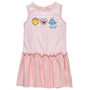 Φόρεμα Smiley αμάνικο με τύπωμα (12 μηνών-3 ετών)