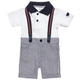 Σετ μπλούζα και παντελόνι με απωσπώμενες τιράντες (3 μηνών-3 ετών)