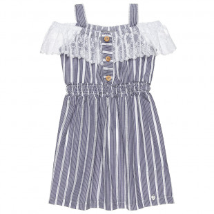 Φόρεμα ριγέ με διάτρητες λεπτομέρειες και δαντέλα στους ώμους (6-14 ετών)