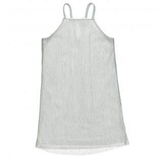 Φόρεμα με rib διαφάνεια και λούρεξ (6-16 ετών)
