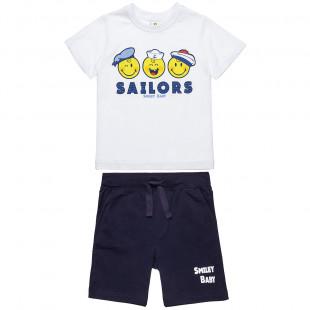 Σετ Smiley μπλούζα με τύπωμα και βερμούδα (12 μηνών-3 ετών)