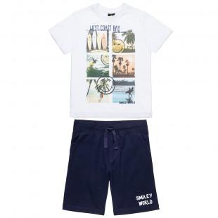 Σετ Smiley μπλούζα με τύπωμα και βερμούδα με κορδόνια (4-16 ετών)