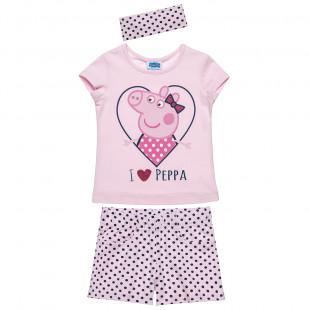 Σετ Peppa Pig μπλούζα με τύπωμα σορτς και κορδέλα (2-5 ετών)