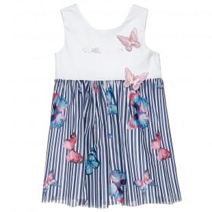 Φόρεμα με τούλι και κέντημα πεταλούδες (18 μηνών-5 ετών)