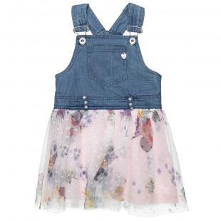 Φόρεμα τζιν σαλοπέτα με τούλι (12 μηνών-5 ετών)
