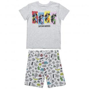 Πυτζάμες Captain America μπλούζα με βερμούδα (4-10 ετών)