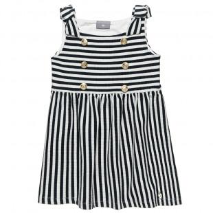 Φόρεμα ριγέ με διακοσμητικά κουμπιά (6-16 ετών)
