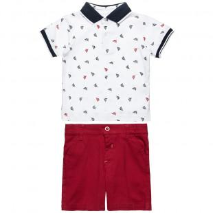 Σετ μπλούζα polo με all over μοτίβο και βερμούδα (6 μηνών-2 ετών)