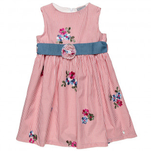 Φόρεμα ριγέ με κέντημα λουλούδια και αποσπώμενη ζώνη (6-12 ετών)