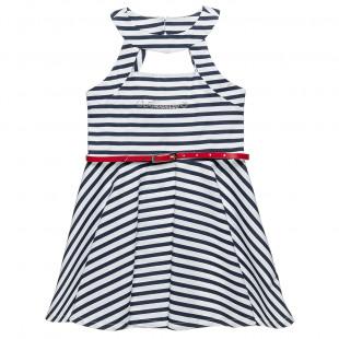 Φόρεμα ριγέ με άνοιγμα μπροστά και αποσπώμενη ζώνη (6-16 ετών)