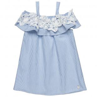 Φόρεμα ποπλίνα με cut off άνοιγμα στους ώμους (12 μηνών-5 ετών)